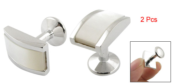 Man Blouse Shirt Pair Cuff Button Cufflinks Silver Tone White
