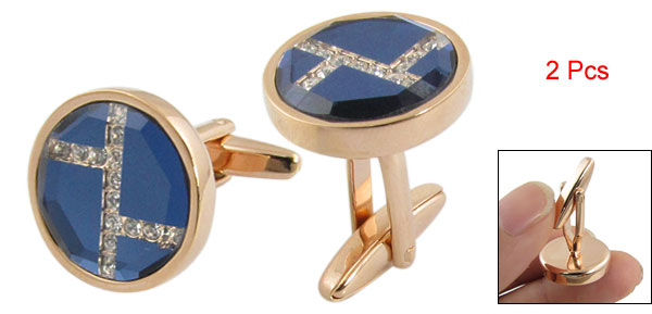 2 Pcs Gold Tone Dark Blue Metal Round Cuff Button Cufflinks