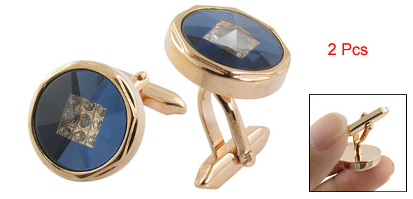 Pair Dark Blue Facted Surface Gold Tone Round Cufflinks Shirt Decor
