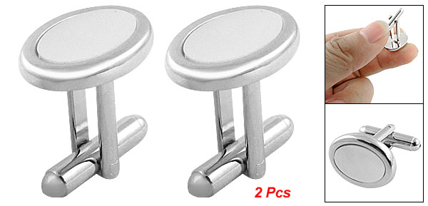 2 Pcs Ellipse Shape Cuff Button Cufflinks Shirt Decor