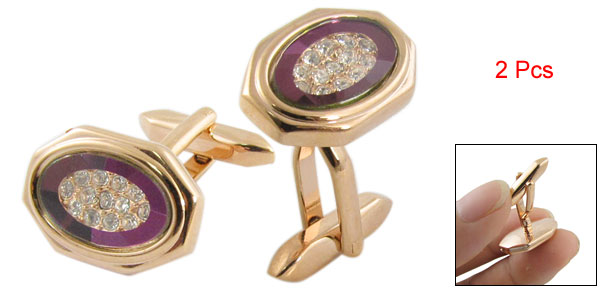 Gold Tone Purple Rose Shape Cufflinks Shirt Decor 2 Pcs