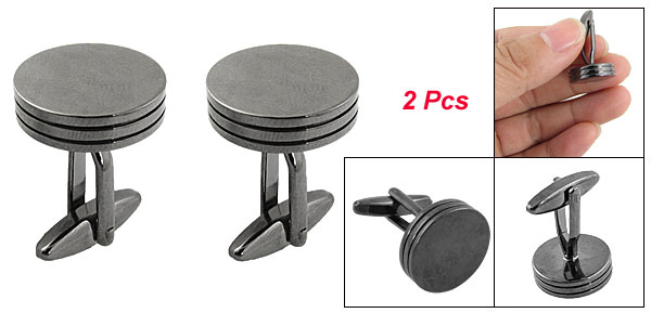 Man Blouse Dark Gray Round Shape Metal Cufflinks 2 Pcs
