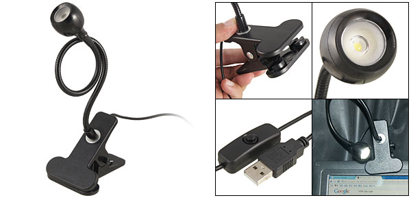 USB Cable Flexible Gooseneck Clip LED Reading Light Lamp Black