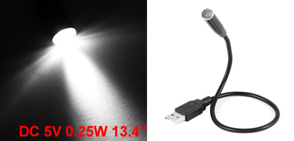 Laptop PC 0.25W Flexible Neck USB LED Lamp Light Black