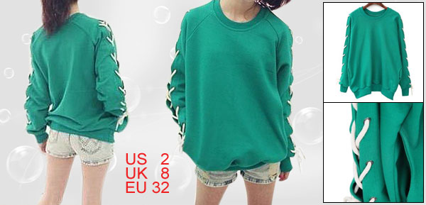 Teal Round Neck Lace up Long Sleeve Pullover Shirt XS for Women