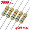 2000 Pcs 1/2W 680 Ohm 5% Carbon Film Resistors Tape