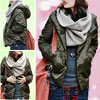 Women Dark Army Green Long Sleeve Hooded Padded Coat Jacket XS