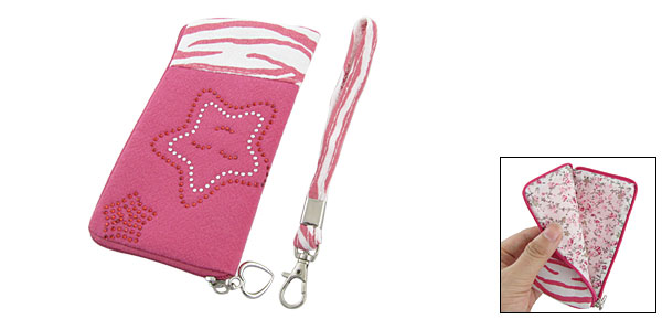 Zebra Print L Shape Zip Up Hand Pouch Rose Pink for iPhone 3G 4G