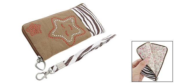 Zebra Pattern Crystal Decor Star Hand Bag Pouch for iPhone 3G 4G