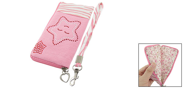 L Shape Zipper Closure Crystal Decor Star Pouch Pink for iPhone 3G 4G