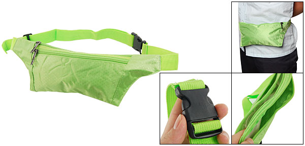 Women Green Zip Up 2 Pockets Waist Bag Fanny Pack Bumbag