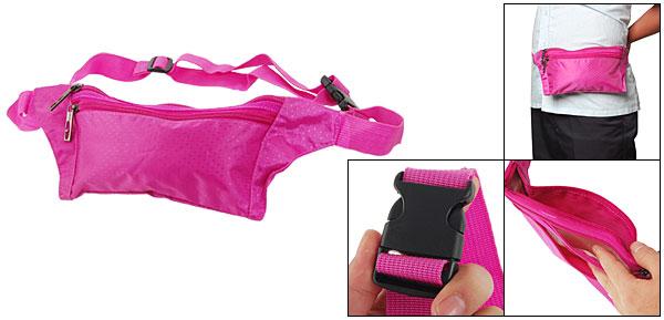 Women Fuchsia Side Release Buckle Zip Up Waist Bag Fanny Pack