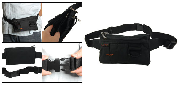 Men Black Adjustable Belt 4 Compartments Zipper Waist Bag Fanny Pack