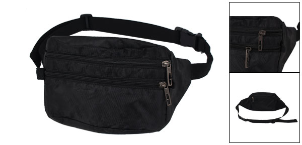 Men Black Weave Decor Nylon Adjustable Belt Waist Bag Pouch