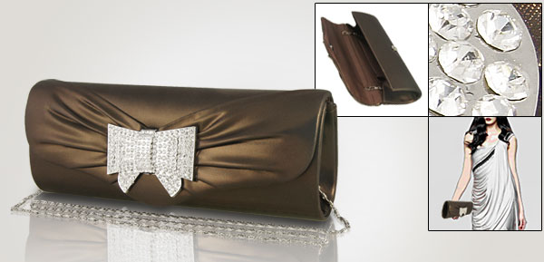 Women Faux Leather Plastic Crystal Inalid Coffee Color Clutch Bag