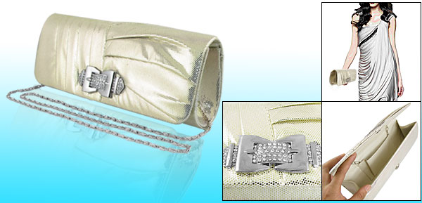Women Rhinestone Decor Flap Gold Tone Evening Handbag