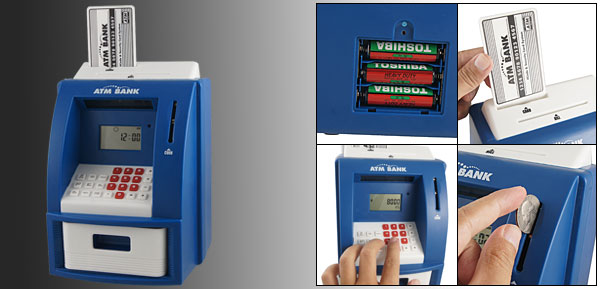 Time Date Alarm Calculator Coin Money Saver ATM Bank Case Box Blue