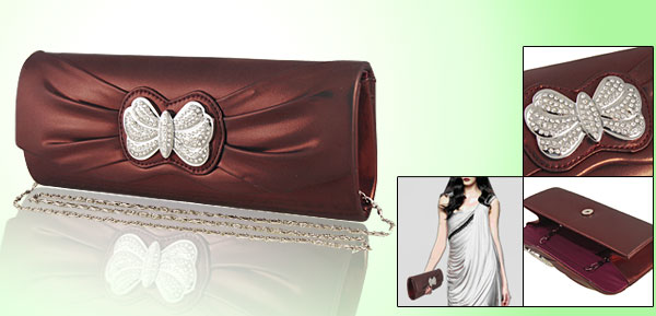 Woman Metal Shoulder Chain Rhinestone Evening Bag Crimson