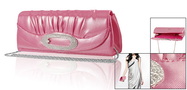 Woman Silver Tone Dotted Fuchsia Faux Leather Party Evening Bag