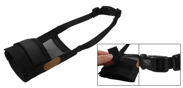 Pet Dog Puppy Adjustable Anti Bark Chew Black Mesh Muzzle