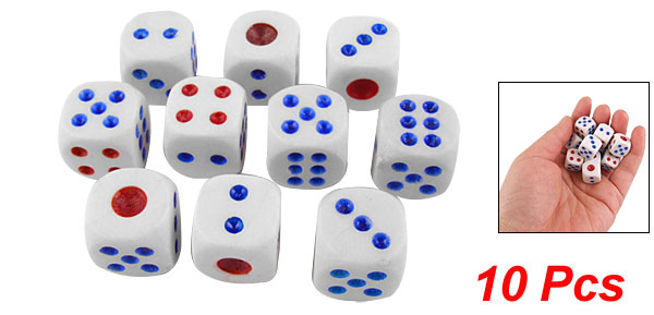 10 Pcs White Plastic Rounded Corner Dices Lucky Game Props