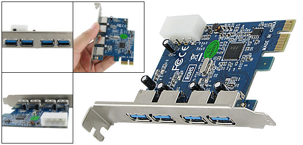 Computer PCI-E 4 Ports USB 3.0 PCI Express Card Adapter