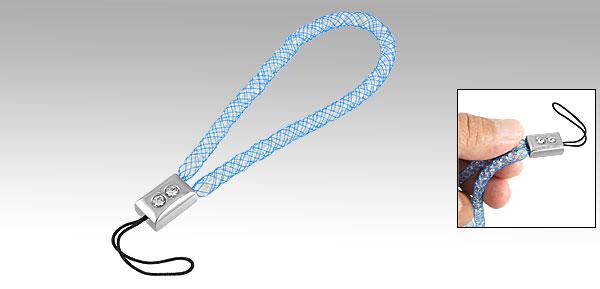 Phone Rhinestone Inlaid Rectangle Decor Meshy Hand Strap Blue
