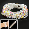 Women White String Braided Multi Plastic Beads Handmade Bracelet