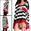 Korea Style Black White Bar Stripes Autumn Loose Shirt for Woman ...