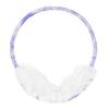 Women White Faux Fur Purple Flower Ear Warmer Earmuffs