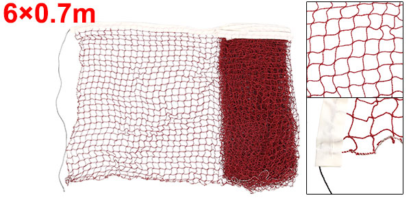 6 x 0.7M Nylon White Trim Burgundy Braided Mesh Badminton Training Net