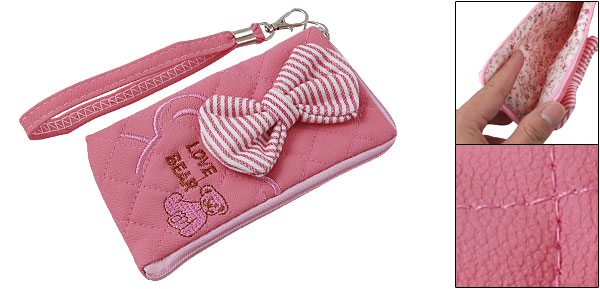 Bowknot Accent Bear Pattern Pink Zipped Purse Pouch Bag for Phone