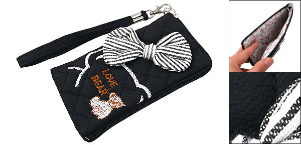 Striped Bowknot Decor Bear Pattern Black L-shape Zipper Phone Pouch Bag