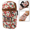 Cell Phone Red Floral Pattern Elastic Band Zip Up Wrist Bag Pouch