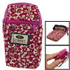 Red Flower Print Fabric Fuchsia Zipper Wrist Bag for Mobile Phone