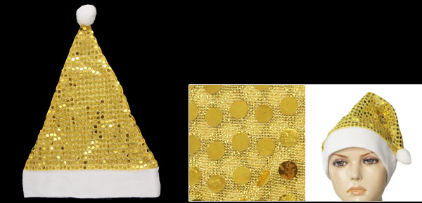 Gold Tone Sequin Detail White Meshy Christmas Santa Claus Hat
