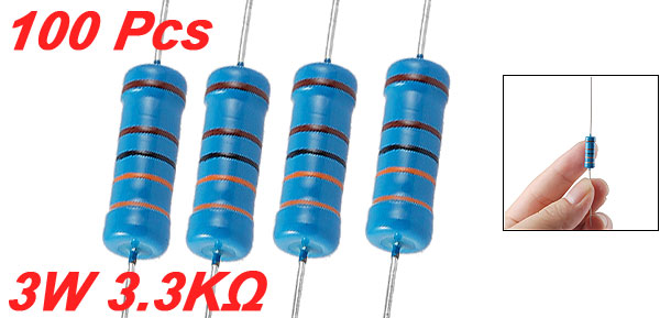 3W 3.3K Ohm 1% Axial Lead Metal Film Resistors 100 Pcs