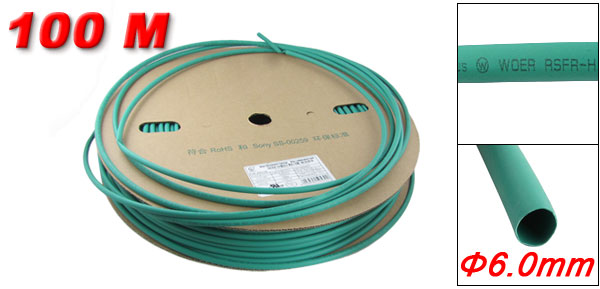 100M 6.0mm Diameter Green Sleeves Heat Shrink Tubes Ratio 2:1