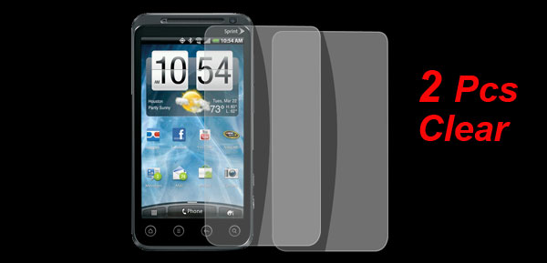 2X Clear Plastic Screen Protector Film Guards for HTC EVO 3D