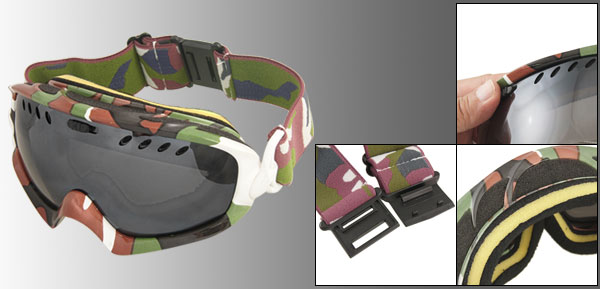 Camouflage Printed Plastic Full Frame Skiing Glasses Goggles for Men Women