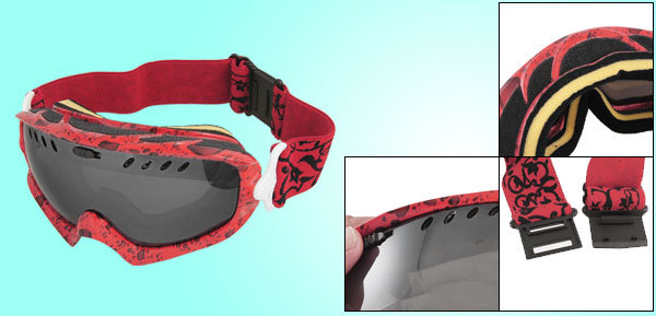 Women Men Red Adjustable Elastic Band Uni Mirror Lens Ski Snowboard Goggles