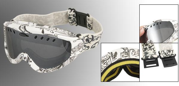 Adjustable Strap White Full Frame Uni Lens Skiing Snowboarding Goggles