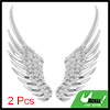 Car Silver Tone Alloy Angel Wings Badge Stickers 2 Pcs