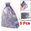 "5 Pcs 7"" x 5"" Rose Print Wedding Xmas Organza Pouch Bag Blue"