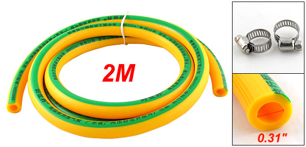 Home 2M 6.6Ft Flexible Rubber Gas Hose Pipe Orange + Clamps