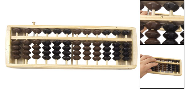 Wooden Frame Black Brown Beads Abacus Soroban Counting Tool
