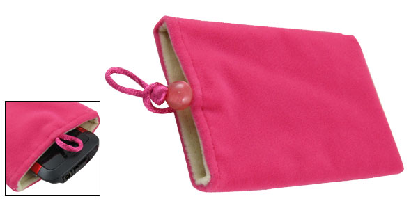 Hot Pink Soft Flannel Vertical Pouch Bag Holder