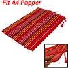 Mesh A4 Paper File Multicolor Stripes Pattern Red Bag