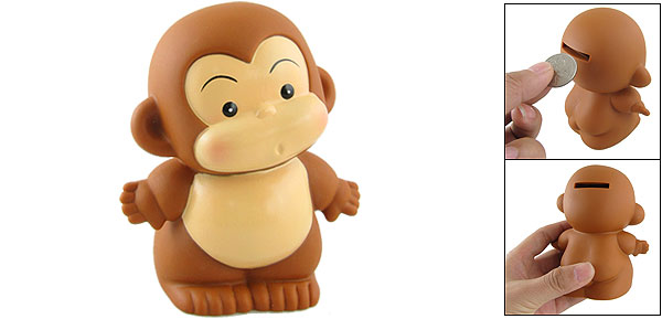 Cartoon Monkey Figure Brown Piggy Bank Box for Children
