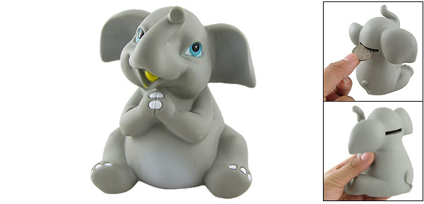 Gray Cartoon Elephant Design Plastic Coins Piggy Bank Box